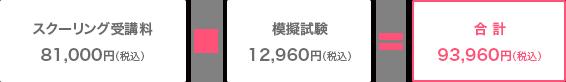 入学金108,000円+授業料1,080,000円教材費216,000円=合計93,960円
